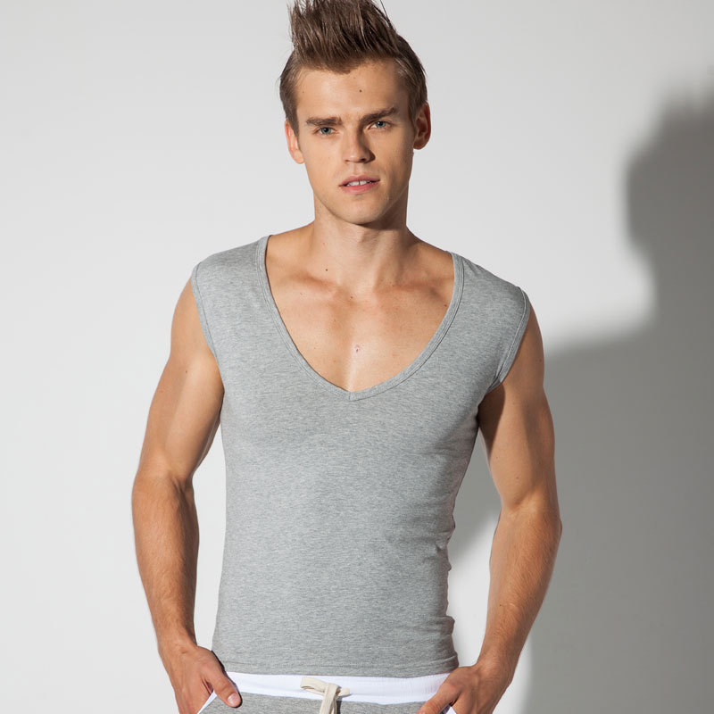 f58423b40338fa Free Shipping New Men s Tank Tops Cotton Vest Fashion Slim Deep V neck  Casual Undershirts 3 Colors-in Tank Tops from Men s Clothing on  Aliexpress.com ...