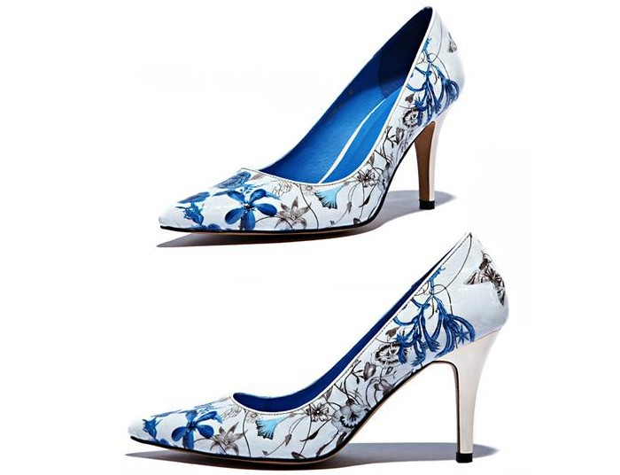 2014 Spring New Women Blue And White Porcelain Pumps Fashion High