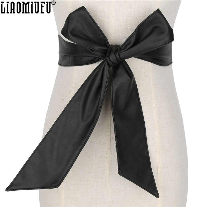 New 2017 Fashion Women Belt Long Section Of the Circle Soft Leather Bow-knot Body Shaping Bands Wide Belts All Match Clothing