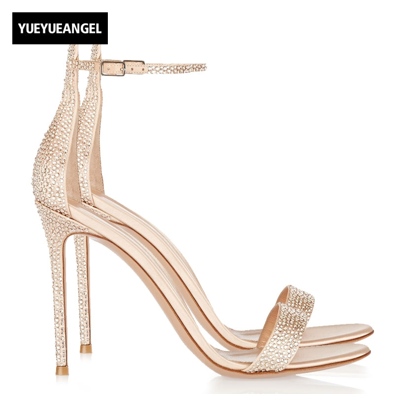 Sexy Sandals Women 2018 New High Heel Shoes Ankle Buckle Fashion Party Shoes Female Genuine Leather Shoes Crystal Open Toe Gold