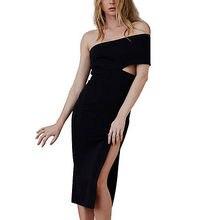 Frauen Sexy Verband Bodycon Sommer Abendgesellschaft Schulterfrei Mini Kleid
