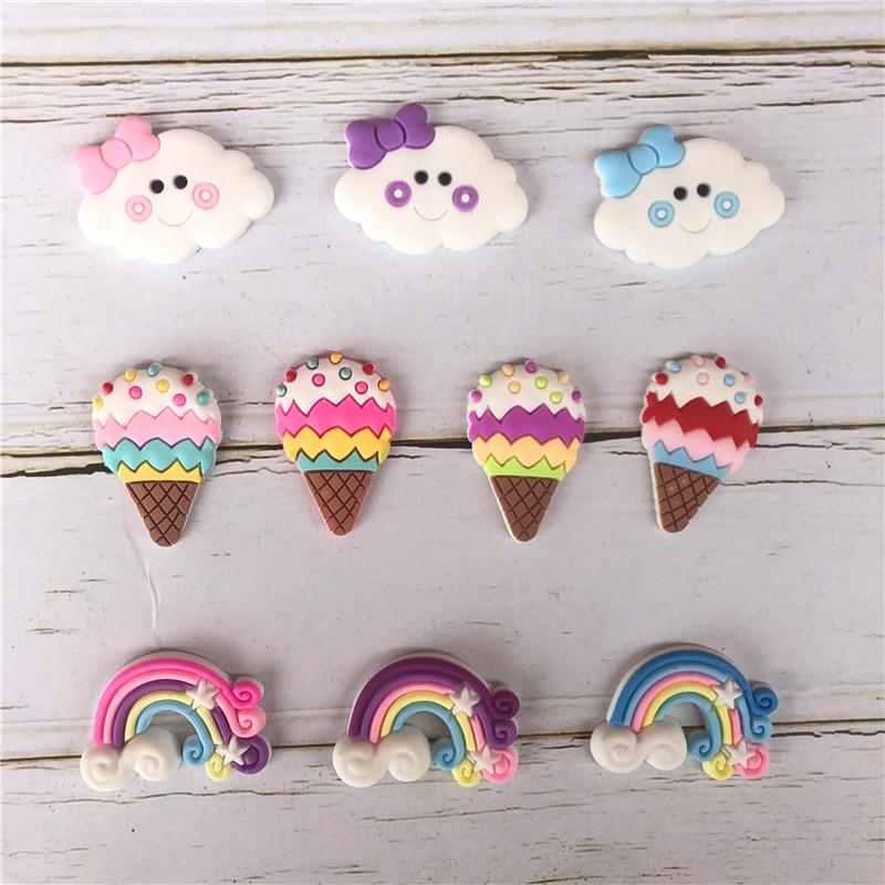 Cute Carton Rainbow Cloud Ice Cream DIY Accessories  Flatback Diy Center Crafts Hair Accessory 30pcs/lot