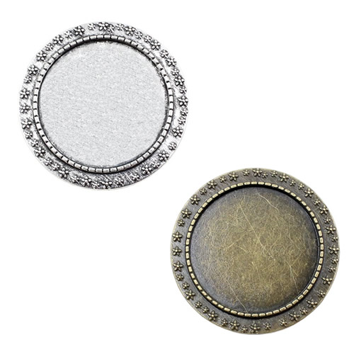 30mm Inner Dia Vintage Round Blank Setting Bezel Blank Base Cabochon Brooch With Base For DIY Brooch 3pcs/lot K04630