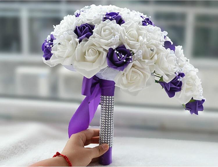 white and purple wedding flowers bridal bouquetsTeardrop Cascade ...