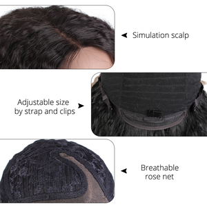 Image 4 - Peruca cabelo sintético, peruca natural longa cacheada afro puff yaki sem cola cabelo sintético para mulheres