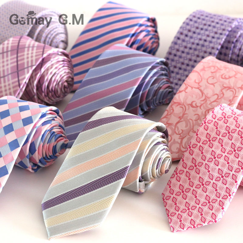 High Quality New Pink Style Plaid Ties For Men Fashion Classic Mans Necktie For Wedding 6cm Width Groom Tie