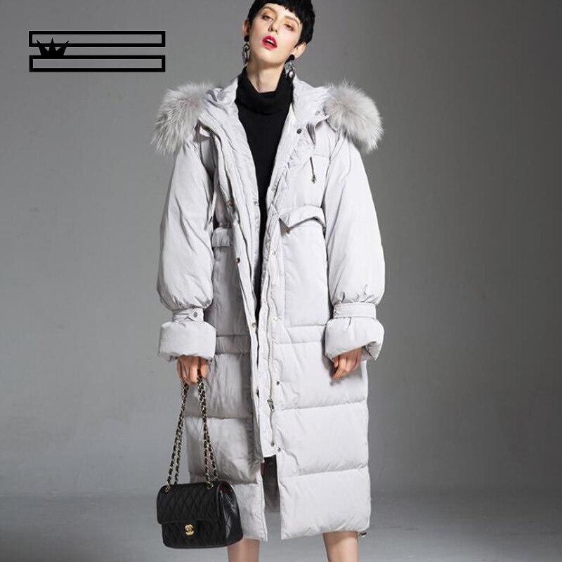 SHUANGGUN 2018 New Harsh Winter Thicken Women Goose   Down     Coat   Natural Fur Waterproof Windproof High Quality