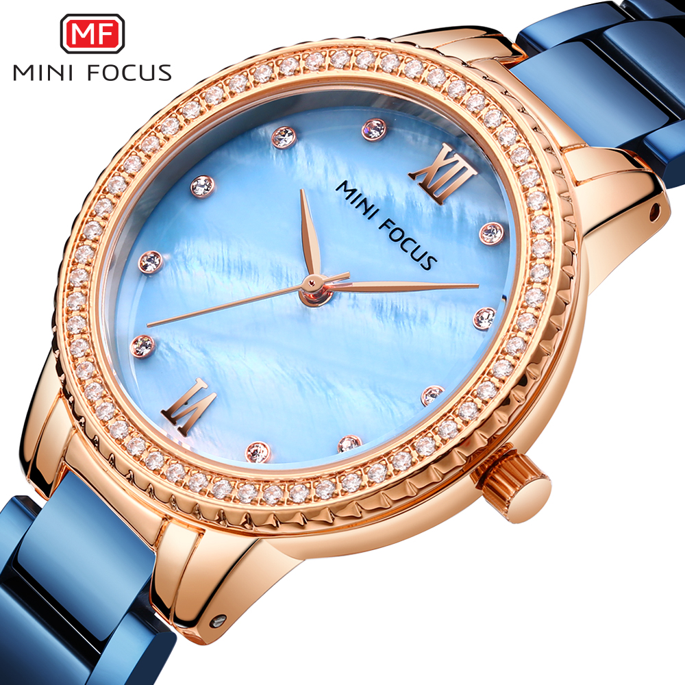 MINIFOCUS Luxury Fashion Women Watches Lady Watch Stainless Steel Dress Woman Watch Quartz WristWatches Valentine Gift Dropshipp
