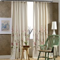 Flowers Cotton Embroidery Curtain Fabric Study Room Curtains Floral Embroidered In The Living For Kitchen Linen Modern Cortina