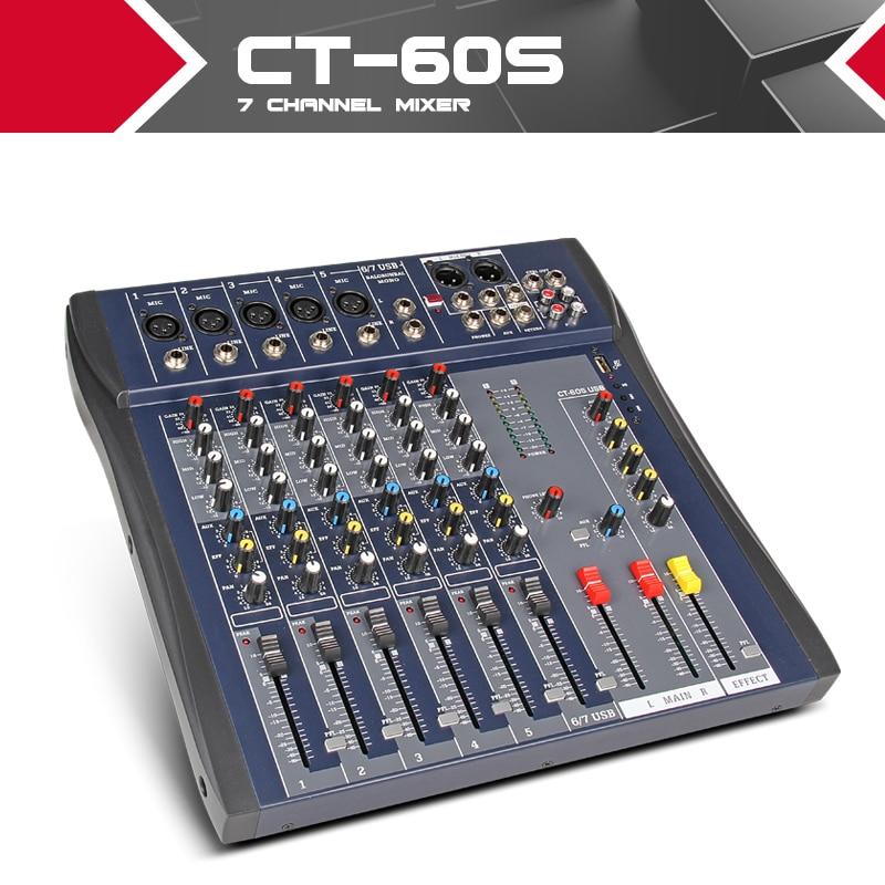 xtuga ct60s usb 7 channels mic line audio mixer mixing console usb xlr input 3 band eq 48v. Black Bedroom Furniture Sets. Home Design Ideas