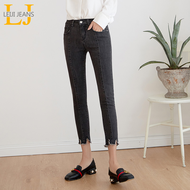 LEIJIEANS 2019 Stretch Women Pants Mid-waist Slim Casual Plus Size Gray Color  Jeans For Women Summer Capris Women Jeans 9019