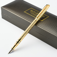 High Quality Luxury 10K Gold Fountain Pen 0 5mm Full Metal Golden Clip Ink Pens Caneta
