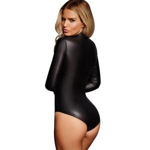 Image 2 - ADEWEL 섹시한 긴 소매 지퍼 Wetlook 가죽 바디 슈트 여성 페티쉬 PVC 바디 테디 란제리 에로틱 한 바디 슈트 Catsuit Clubwear
