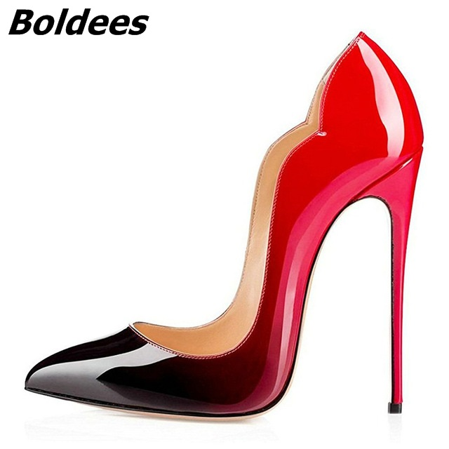 Boldees  Sexy Pumps Women Pointed Toe 10 12CM High Heels Stiletto Wedding Shoes Party Dress Black