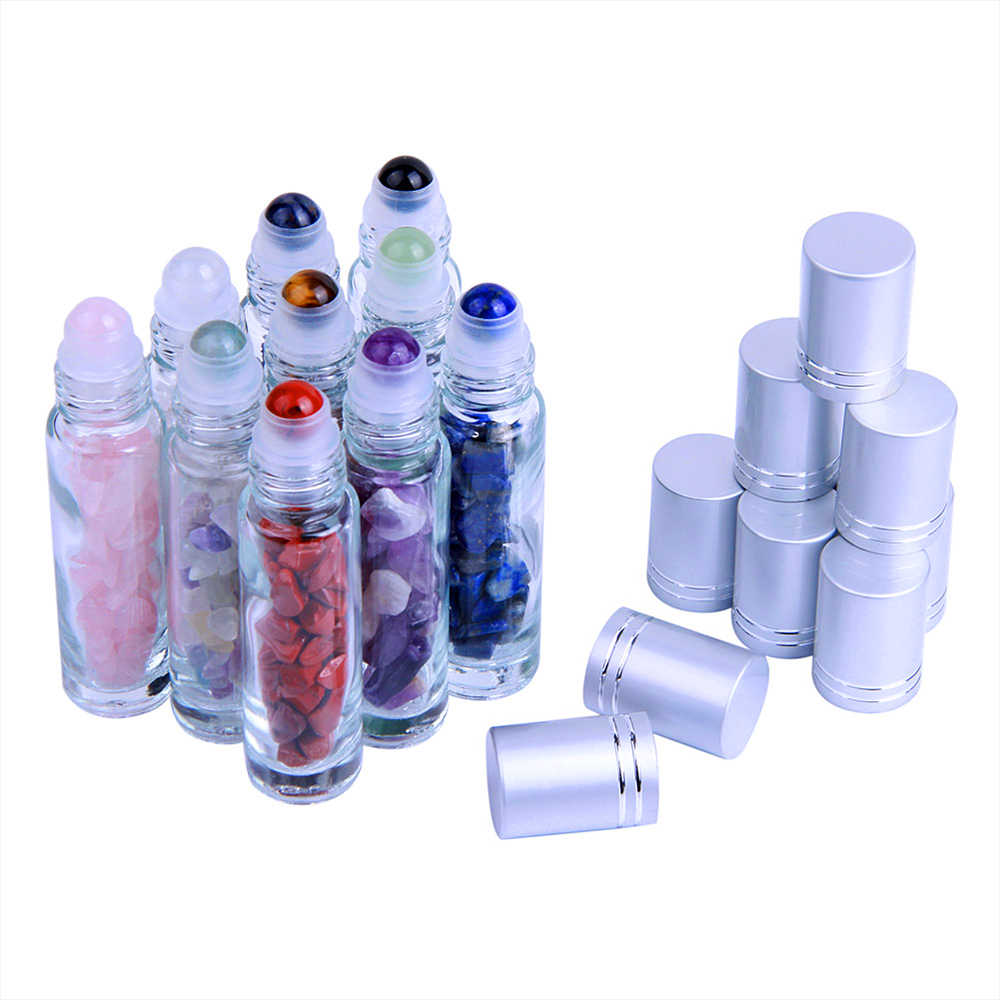 10pcs Glass Roller Bottles 10 ml for Essential Perfumes Oil with Roller Balls Gemstone Chips Travel Refillable Storage Bottles