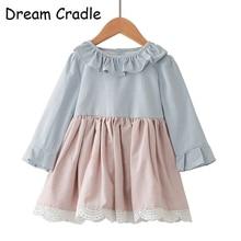 Dream Cradle / Lace Vintage Girls Dress / Ruffle Collar Baby Dress / Linen Baby Girls Dress / Long Sleeve