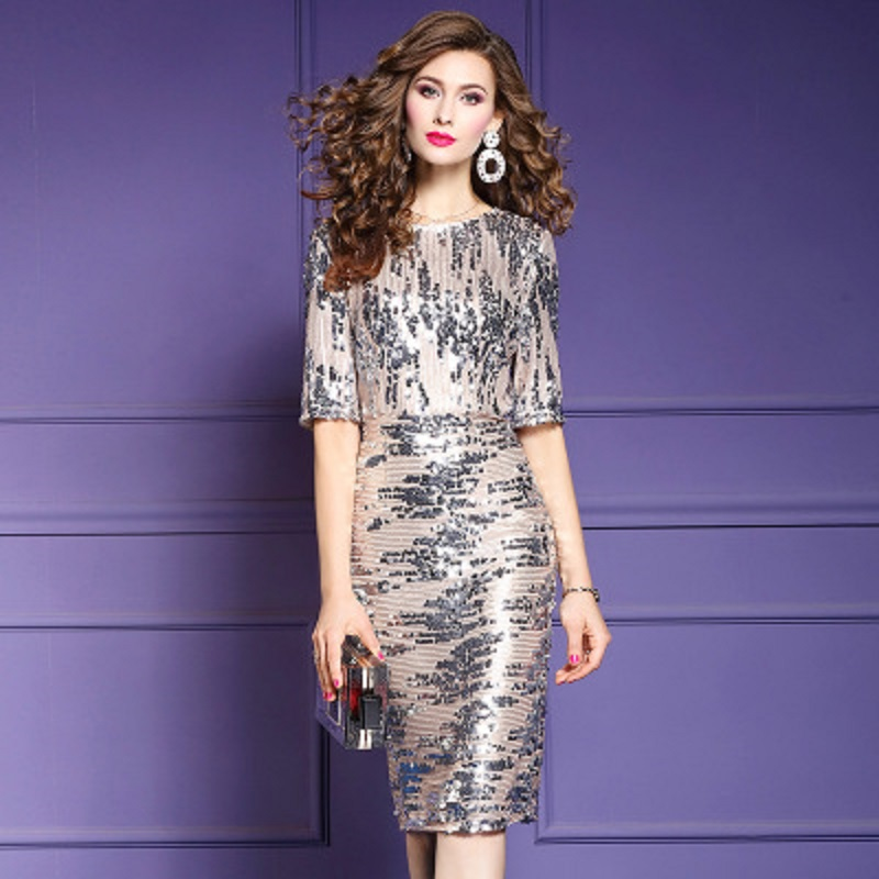 Spring 2019 new High quality Retro Women ladies sexy Sequined Party dress Plus Size Package hip