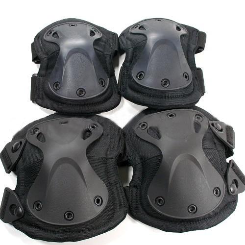 Livraison gratuite Sport extérieur du genou coudières tactique Airsoft genou et coude Pads noir vert armée genou Protector Pads