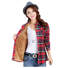 Thickness Blouse for Women Winter Shirt Loose Plaid Cotton Long Sleeve Trendy Tops