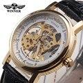 Novo Vencedor Moda Clássico Ultra Fino Caso de Ouro Pulseira de Couro Relógios Das Mulheres Dos Homens Presente Esqueleto Vento Mão Mecânica Relógios de Pulso