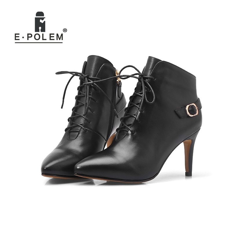 2018 New Fashion Female Genuine Leather Martin Boots Pointed Toe Lace-Up Buckle Strap Zip Ankle Boots Women High Heel Boots martins real leather plus velvet british style high heel womens fashion boots winter 2015 lace up pointed toe ankle side zip