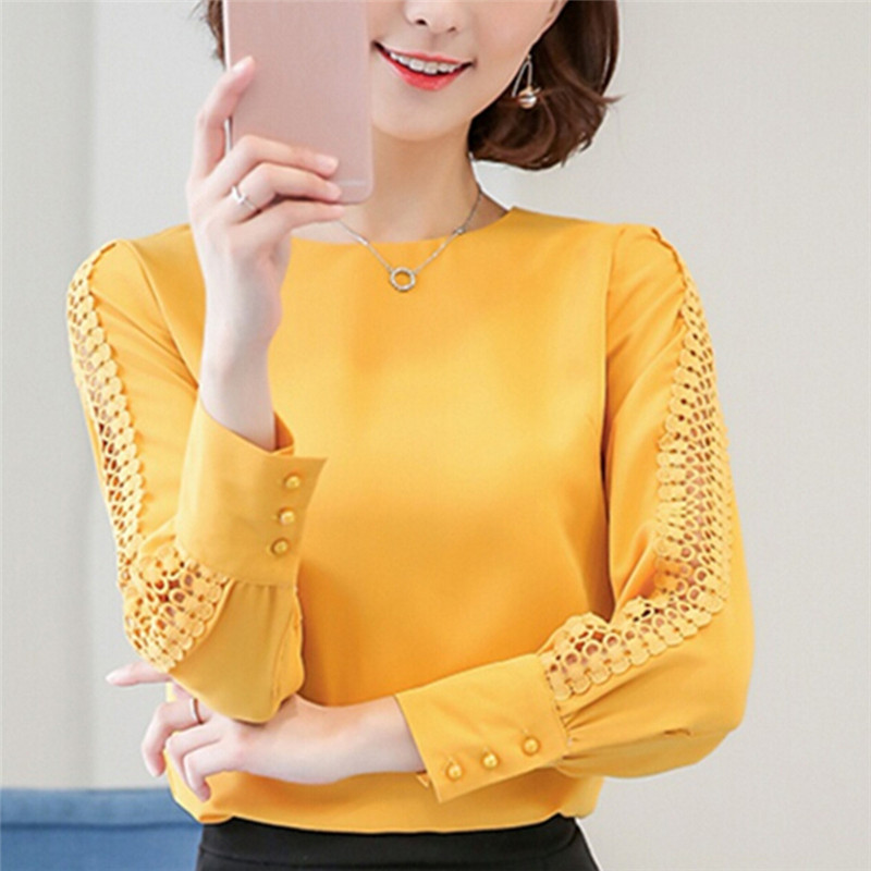 Summer Sexy Slim Chiffon Blouse Women Autumn Long Sleeve Ladies Office Shirts Korean Fashion Top