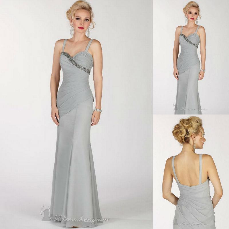 Elegant Silver Grey Chiffon Long Mother Of The Bride Dresses With Spaghetti Straps Sleeveless Evening Gown Cusom Made Party Gown