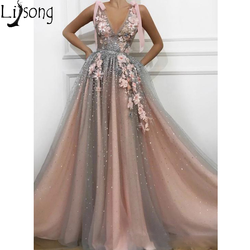 2019 Sparkly Sequins Tulle Long Prom Dresses Deep V Neck Sleeveless Appliques Evening Dress Robe De Soiree Formal Party Gowns