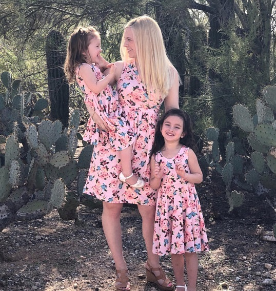 Mother Daughter Dresses Sleeveless Floral Mommy and Me Clothes Family Look Mom Mum Mama Daughter Matching Outfits Dress Clothing
