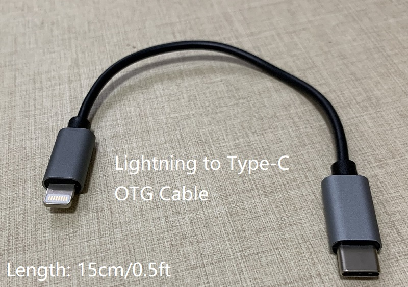 Lightning to Type C OTG Cable for Shanling M2X M5s Fiio Pha Chord Hugo Mojo iPhone