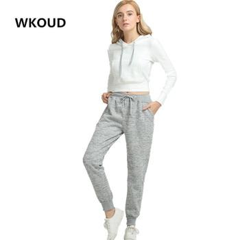 WKOUD Sweatpants Women Warm Hot Harem Pants Winter Thickening Casual Trousers Female High Waist Drawstring Snow Pants P8086