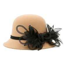 Winter Wool Felt Cloche Hat with flower