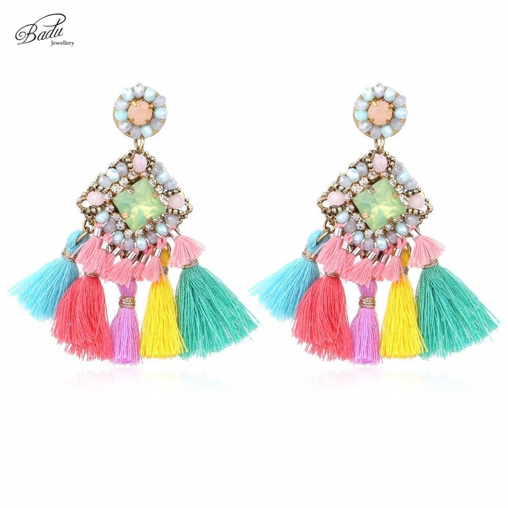 Badu Pink Tassel Vathë Vathë Barok Bukuroshe Fringe Dangle Vajza - Bizhuteri të modës - Foto 5
