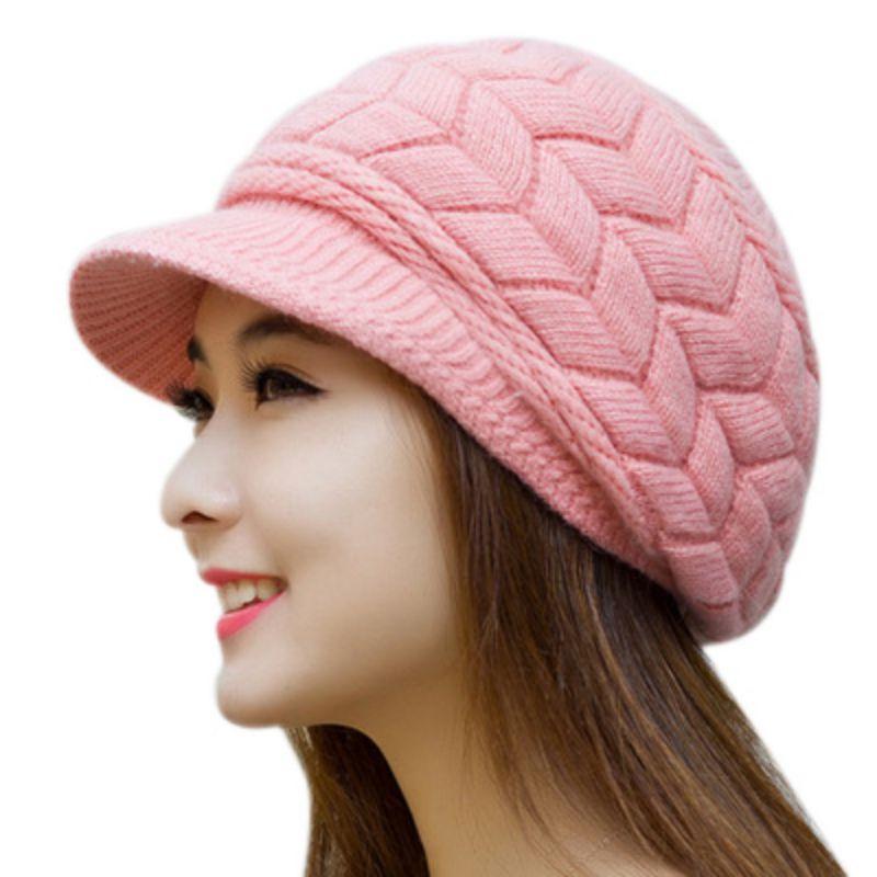 Beautiful Winter Knit Women's Visor Winter Hats For Women Ladies Girls Skullies Caps Bonnet Femme Snapback Wool Warm Hat