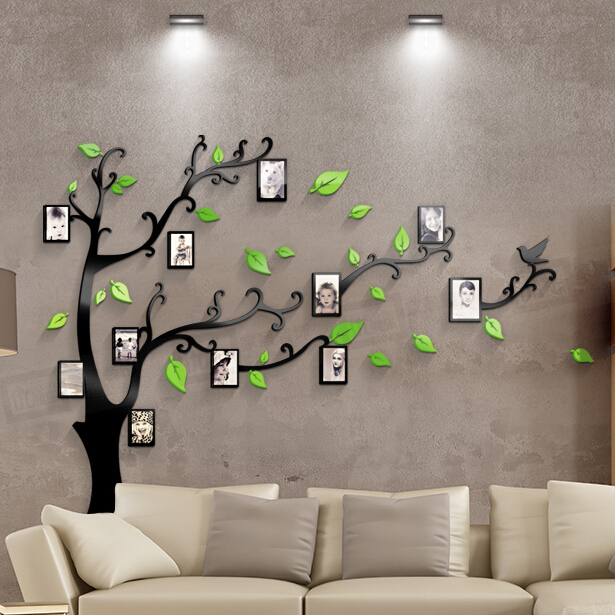 hot sell tree with photo frame 3d acrylic wall stickers bedroom furniture living room sofa tv acrylic bedroom furniture