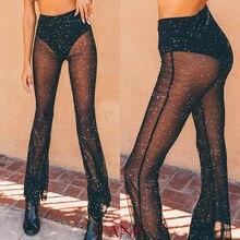 цена на Women Wide Leg Long Pants High Waist See Through Beach Mesh Sheer Trousers Summer Fashion Bikini Cover Up
