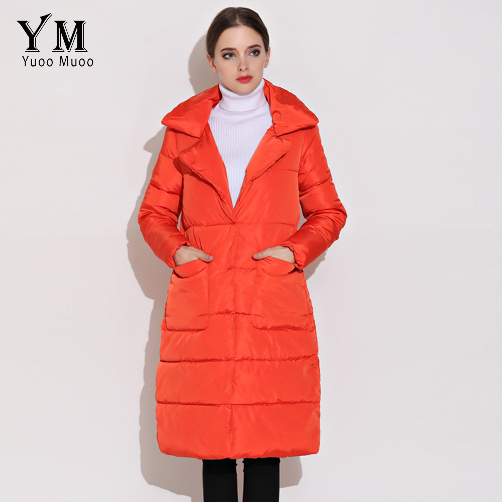 YuooMuoo New Autumn Winter Women Coat Casual Turn-Down Collar Women Jacket Fashion Medium-long Parka Female Jacket with Pocket s 2xl 2 colors 2015 new winter women down coat long slim turn down collar zipper jacket female belt pocket outwear zs308