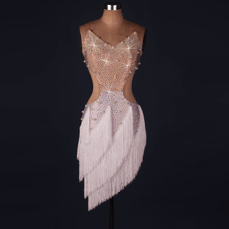 Sexy White Red Rhinestones Latin Dance Dress Women Girls -2145