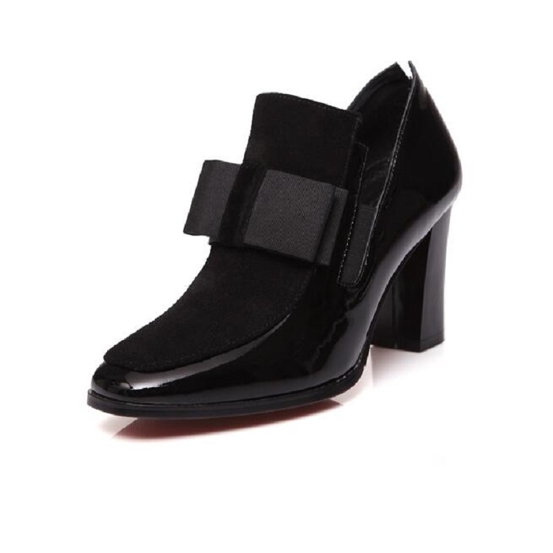 Fashion Bow High Heels Pumps Square Toe Genuine Leather Shoes Women Ladies Black Sexy Chaussure Femme Woman Casual Shoes Size 43