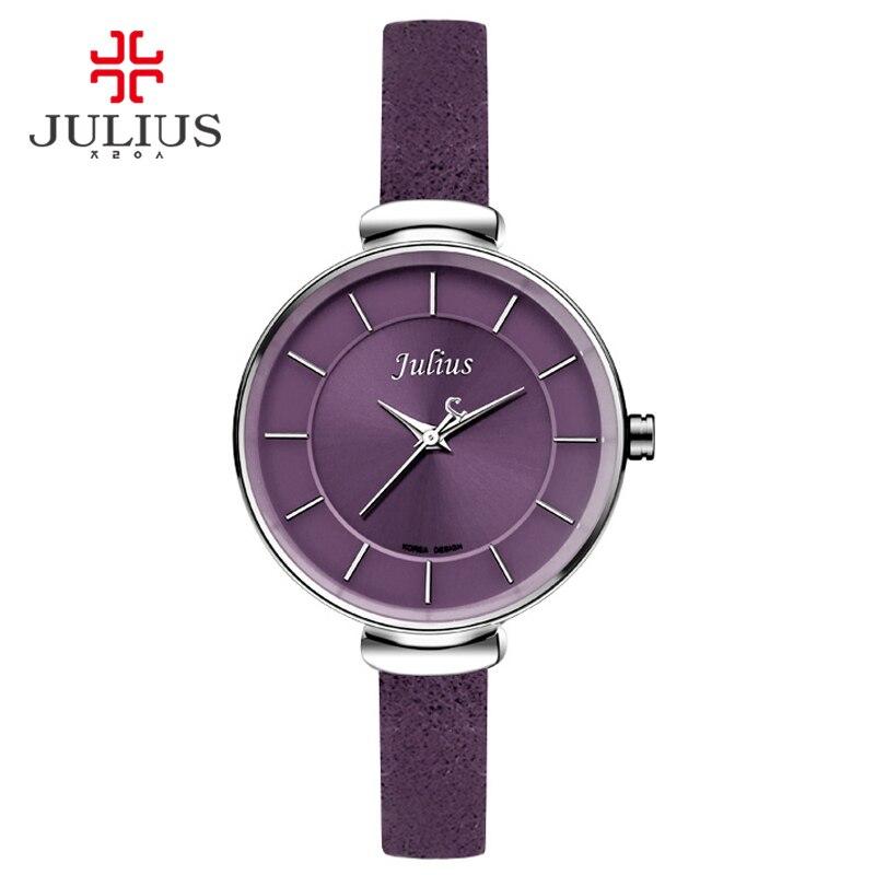 Prix pour Julius Mince Violet Rouge Brun Noir Bracelet En Cuir Argent Poignet montre Ladys Montre Petit Cadran 30 m Étanche Heure Horloge Assis JA-638