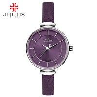 Julius Mince Violet Rouge Brun Noir Bracelet En Cuir Argent Poignet montre Ladys Montre Petit Cadran 30 m Étanche Heure Horloge Assis JA-638
