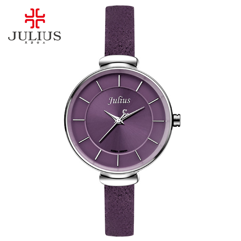 Julius slim purple red brown black leather strap silver wrist watch ladys watch small dial 30m for Violet leather strap watch