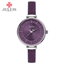 Julius Slim Purple Red Brown Black Leather Strap Silver Wrist Watch Ladys Watch Small Dial 30m Waterproof Hour Clock Sat JA-638