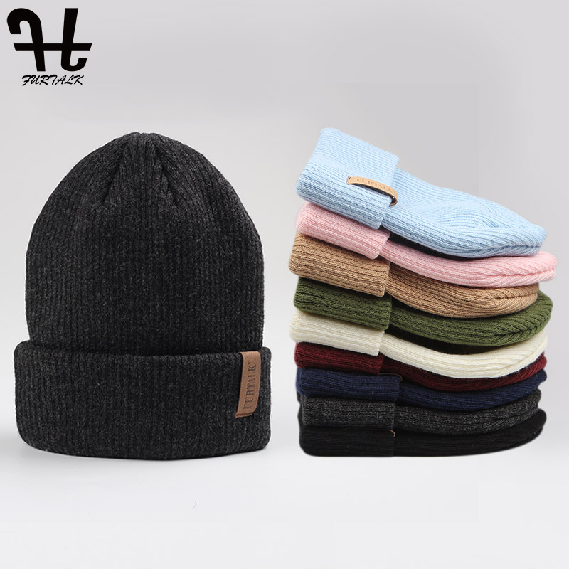 FURTALK Womens Beanie Hat Autumn Women Wool Knit Beanie Hat Cuff Beanie Watch Cap for Girls Spring Skull Hats for Female 2019(China)