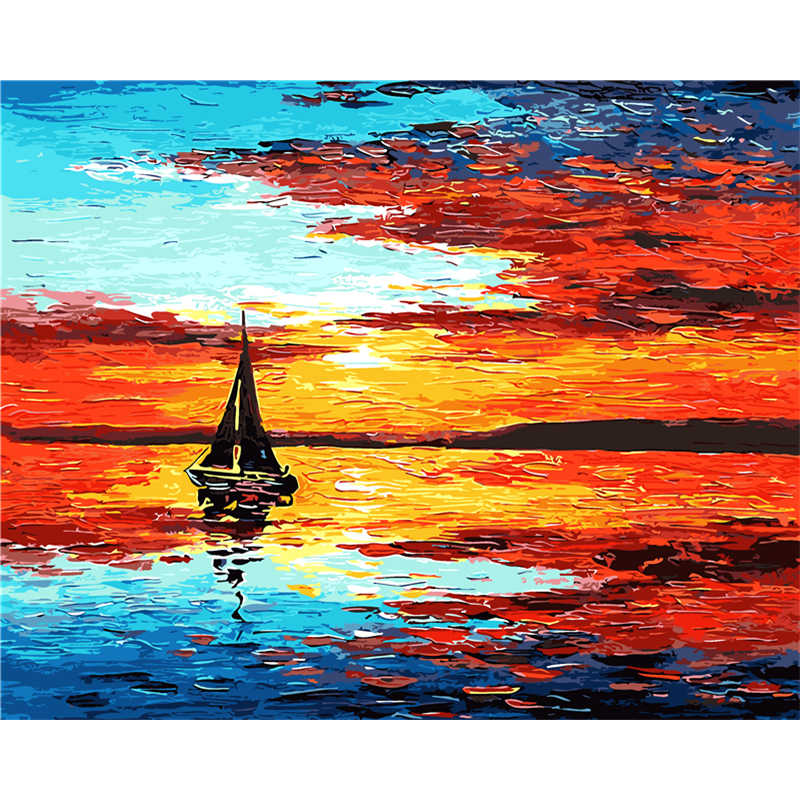 Frameless Wall Decor Pictures Painting By Numbers Hand Painted On Canvas Painting Red sea Landscape Painting Modern Art Painting