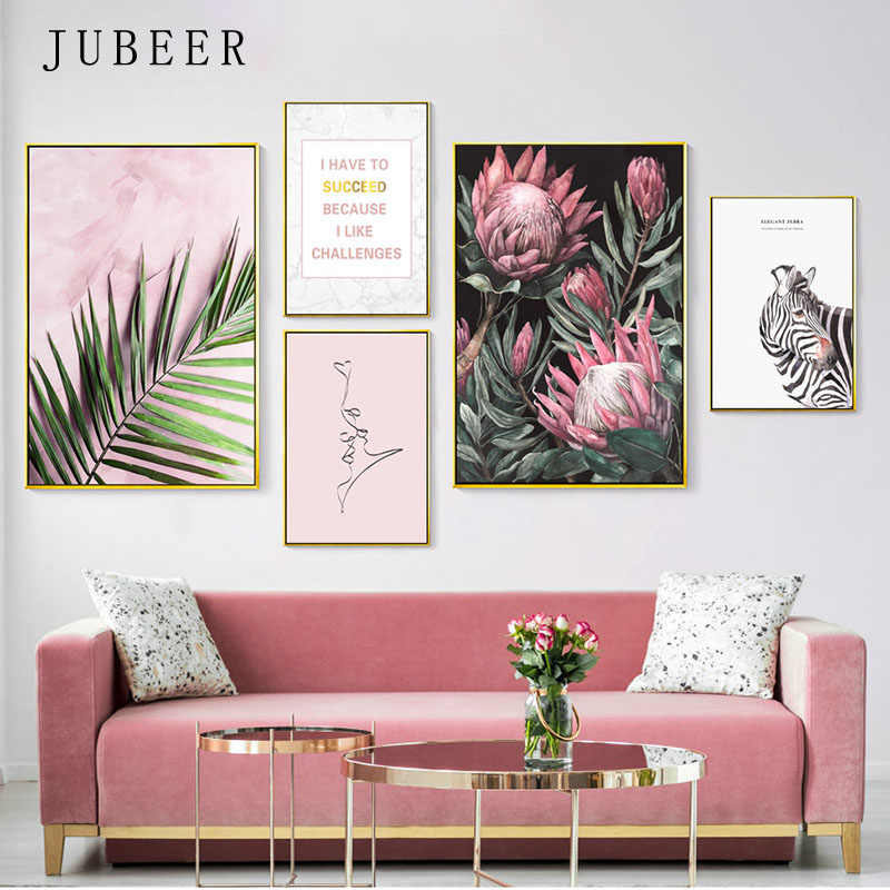 Pink Wall Art Leaves Posters and Prints Flower Canvas Painting for Living Room Decoration Pictures Zebra Frameless Poster