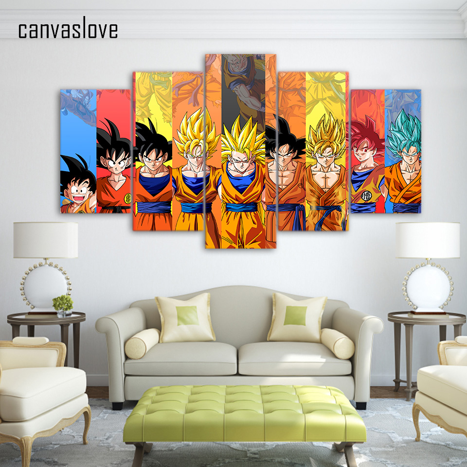 Buy 5 piece canvas art dragon ball z for Dragon ball z living room