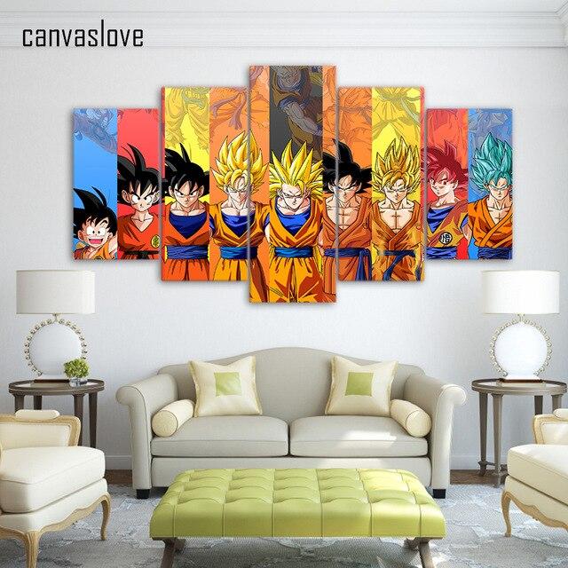 5 piece canvas art dragon ball Z poster Goku modeling