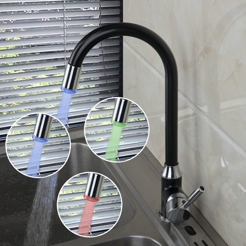 Single Handle Kitchen LED Light Polished Chrome Swivel 8054B Deck Mounted Single Hole Faucets Mixers Taps