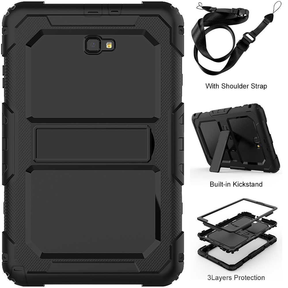 Shockproof Kids Case for Samsung Galaxy Tab A 10.1 2016 T580 T585 SM-T580 SM-T585 Kickstand Silicone Rubber Armor Cases Cover